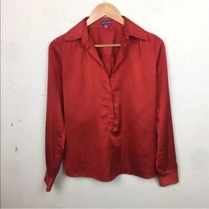 Vince Camuto Satin Popover Blouse Top XS